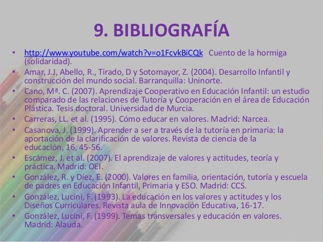 9. BIBLIOGRAFÍA• http://www.youtube.com/watch?v=o1FcvkBiCQk Cuento de la hormiga  (solidaridad).• Amar, J.J, Abello, R., T...