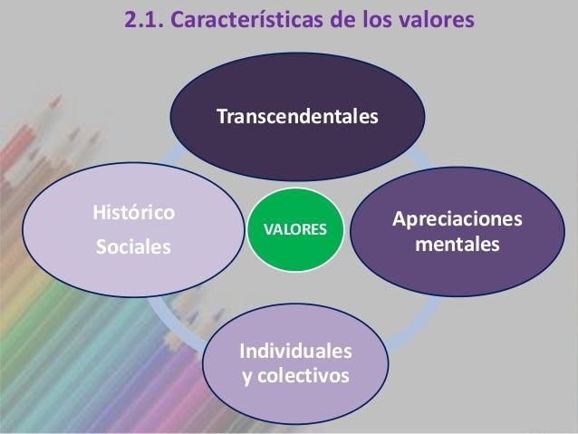 2.1. Características de los valores            TranscendentalesHistórico                      Apreciaciones               ...