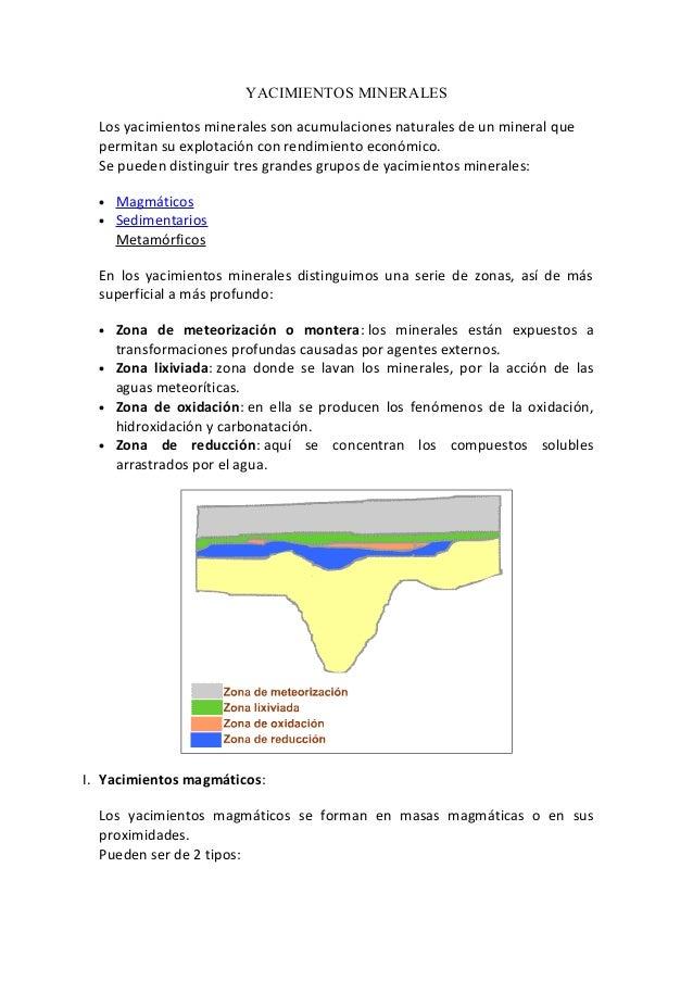 YACIMIENTOS MINERALES Los yacimientos minerales son acumulaciones naturales de un mineral que permitan su explotación con ...