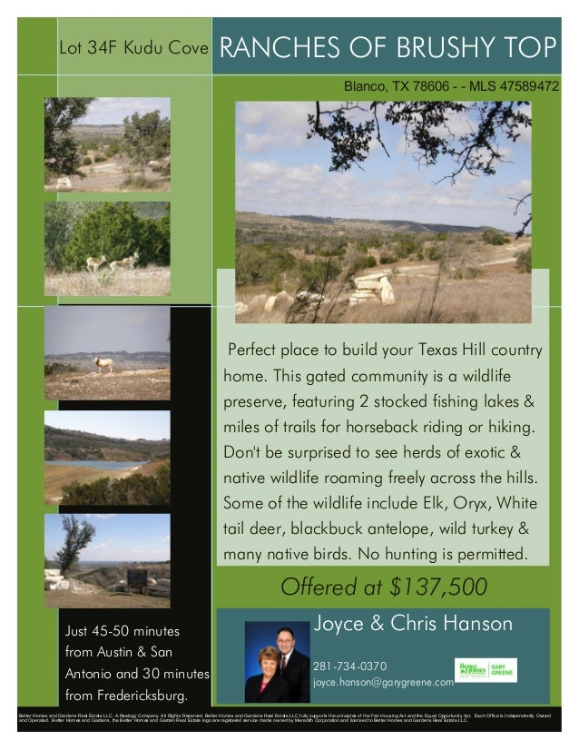 Lot 34F Kudu Cove                                                       RANCHES OF BRUSHY TOP                             ...