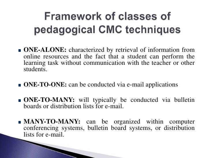 Framework of classes of pedagogical CMC techniques<br />ONE-ALONE: characterized by retrieval of information from online r...