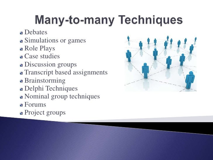 Many-to-many Techniques<br /> Debates<br /> Simulations or games<br /> Role Plays<br /> Case studies<br /> Discussion grou...