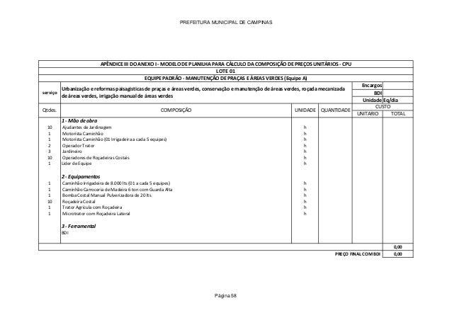 PREFEITURA MUNICIPAL DE CAMPINAS Encargos BDI Unidade Eq/dia UNITARIO TOTAL 1 - Mão de obra 10 Ajudantes de Jardinagem h 1...