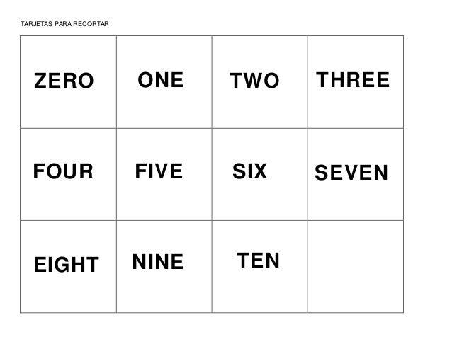 TARJETAS PARA RECORTAR ZERO ONE TWO ONE THREE FOUR ONE FIVE ONE SIX SEVEN E EIGHT ONE NINE ONE TEN ONE