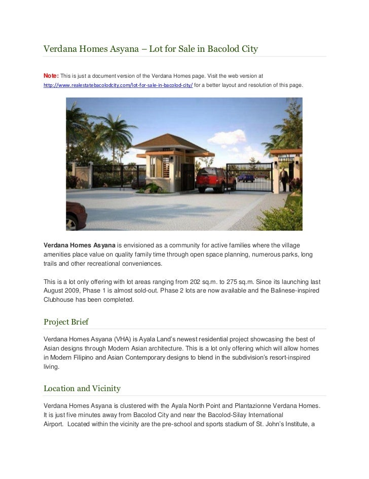 Verdana Homes Asyana – Lot for Sale in Bacolod CityNote: This is just a document version of the Verdana Homes page. Visit ...
