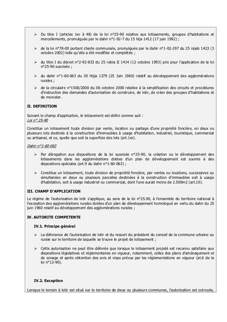 Autorisation de lotir for Autorisation de construction