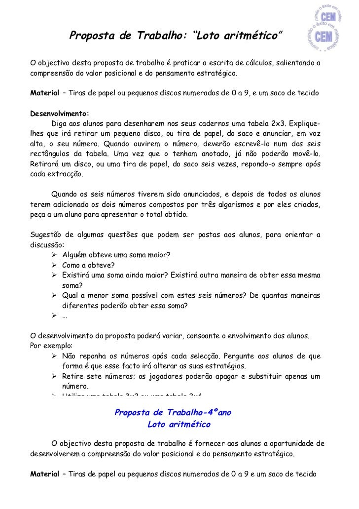 """Proposta de Trabalho: """"Loto aritmético""""O objectivo desta proposta de trabalho é praticar a escrita de cálculos, salientand..."""