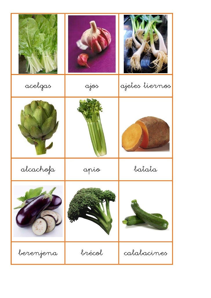 Loto verduras hortalizas y pasta - Verduras lista de nombres ...