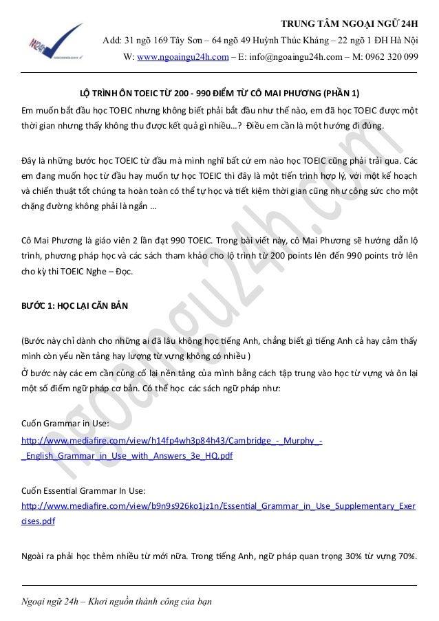 TRUNG TÂM NGOẠI NGỮ 24H  Add: 31 ngõ 169 Tây Sơn – 64 ngõ 49 Huỳnh Thúc Kháng – 22 ngõ 1 ĐH Hà Nội  W: www.ngoaingu24h.com...