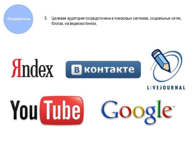 5. Целевая аудитория сосредоточена в поисковых системах, социальных сетях, блогах, на видеохостингах.