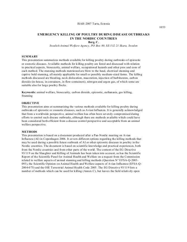 ISAH-2007 Tartu, Estonia 1053 EMERGENCY KILLING OF POULTRY DURING DISEASE OUTBREAKS IN THE NORDIC COUNTRIES Berg, C. Swedi...
