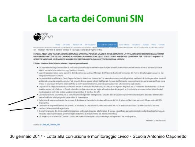 30 gennaio 2017 - Lotta alla corruzione e monitoraggio civico - Scuola Antonino Caponetto La carta dei Comuni SIN