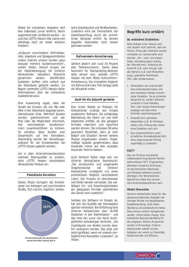 Lotto Hessen: Datenqualität gesteigert - Kosten gesenkt. Slide 3