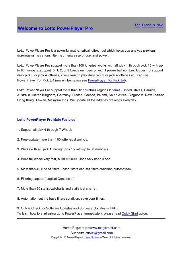 Lottopowerplayerpro lottery software manual