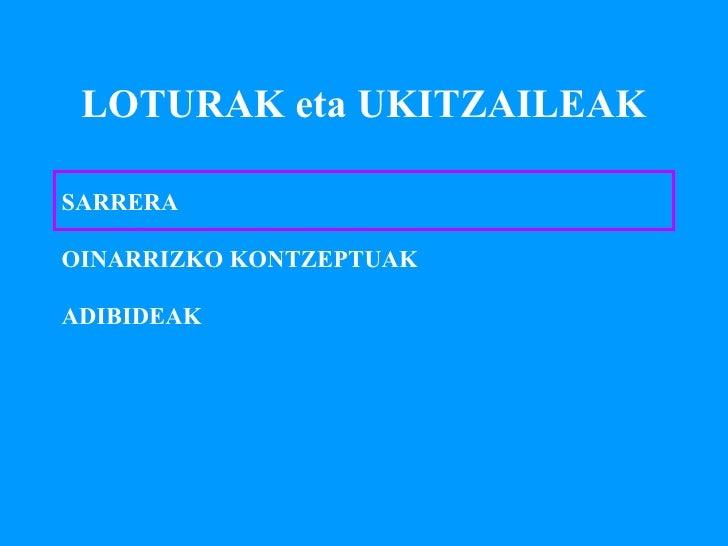 LOTURAK eta UKITZAILEAK SARRERA OINARRIZKO KONTZEPTUAK ADIBIDEAK