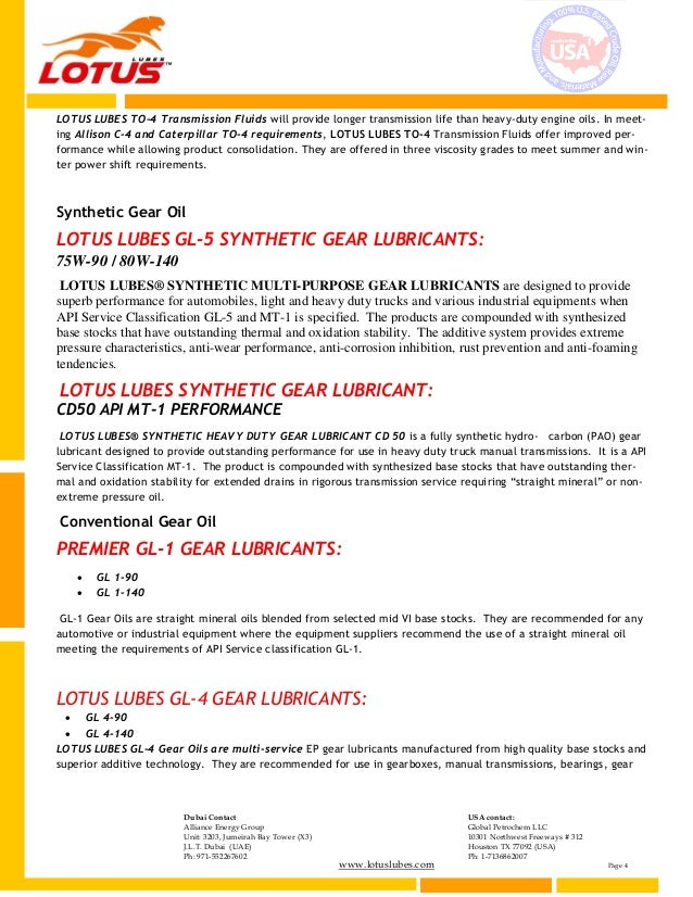 Lotus lubes products catalog