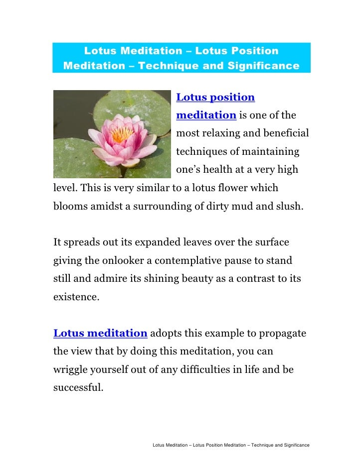Lotus Meditation – Lotus Position  Meditation – Technique and Significance                                Lotus position  ...