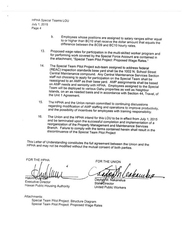 UPW HPHA Letter of Understanding
