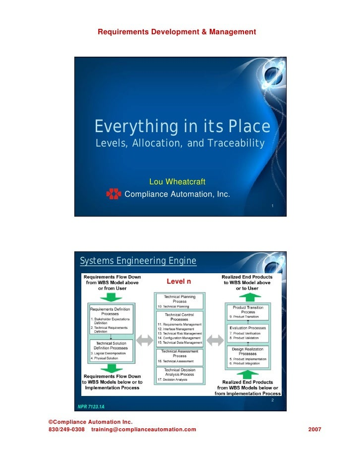 Requirements Development & Management              Everything in its Place               Levels, Allocation, and Traceabil...