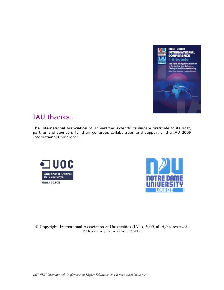 IAU thanks…The International Association of Universities extends its sincere gratitude to its host,partner and sponsors fo...