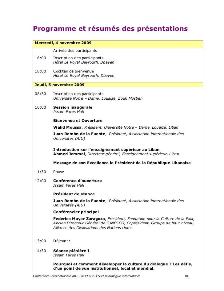 Programme et résumés des présentations Mercredi, 4 novembre 2009             Arrivée des participants 16:00       Inscript...