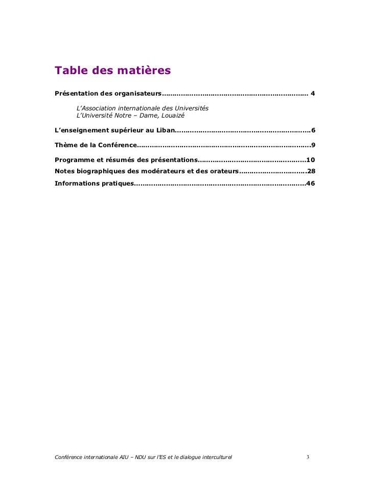 Table des matièresPrésentation des organisateurs…………………………………………………………… 4         L'Association internationale des Univers...