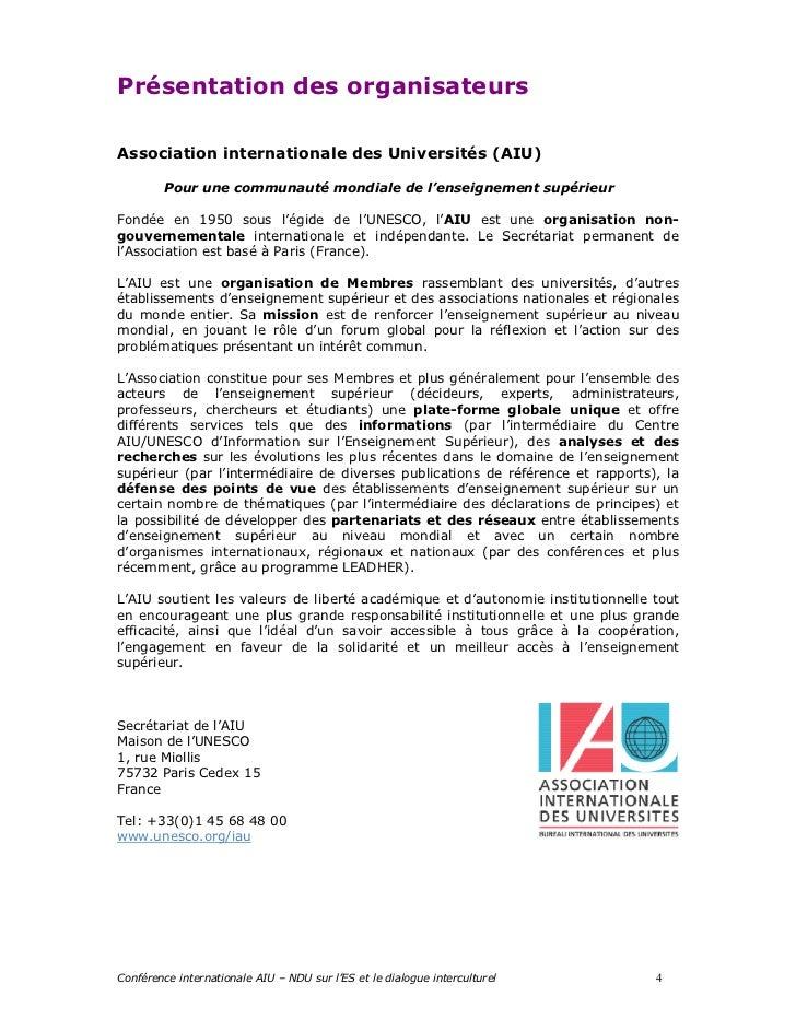 Présentation des organisateursAssociation internationale des Universités (AIU)         Pour une communauté mondiale de l'e...