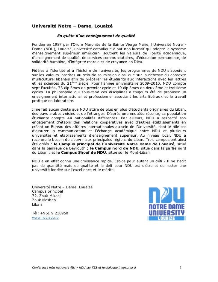 Université Notre – Dame, Louaizé                 En quête d'un enseignement de qualitéFondée en 1987 par l'Ordre Maronite ...
