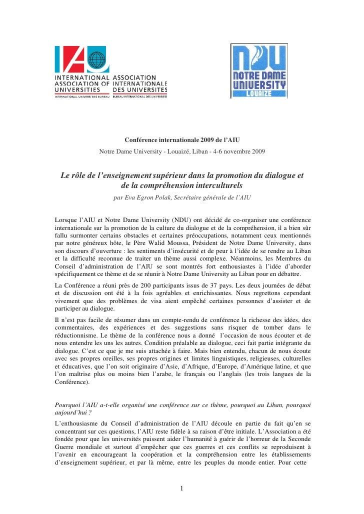 Conférence internationale 2009 de l'AIU<br />Notre Dame University - Louaizé, Liban - 4-6 novembre 2009<br />Le rôle de l'...