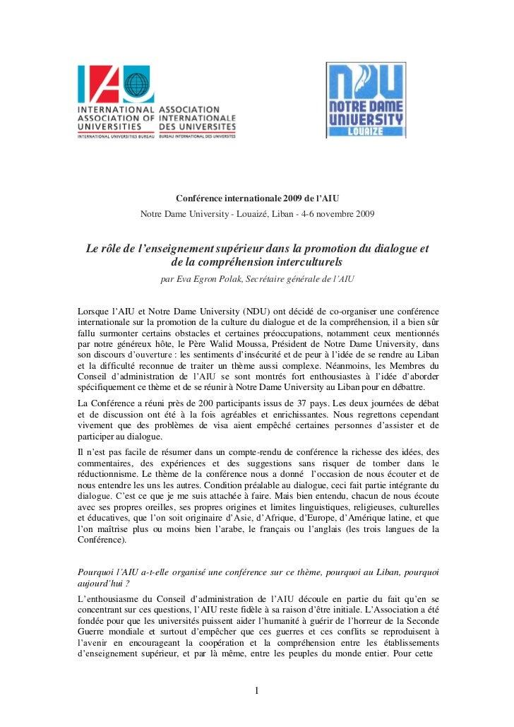 Conférence internationale 2009 de l'AIU                Notre Dame University - Louaizé, Liban - 4-6 novembre 2009  Le rôle...