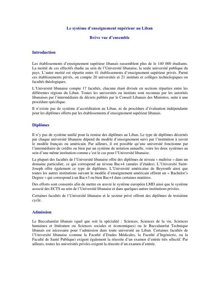 Le système d'enseignement supérieur au Liban<br />Brève vue d'ensemble<br />Introduction<br />Les établissements d'enseign...