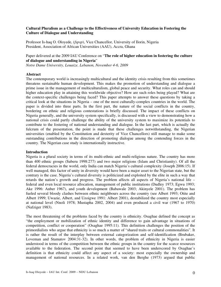 Cultural Pluralism as a Challenge to the Effectiveness of University Education in Fostering theCulture of Dialogue and Und...