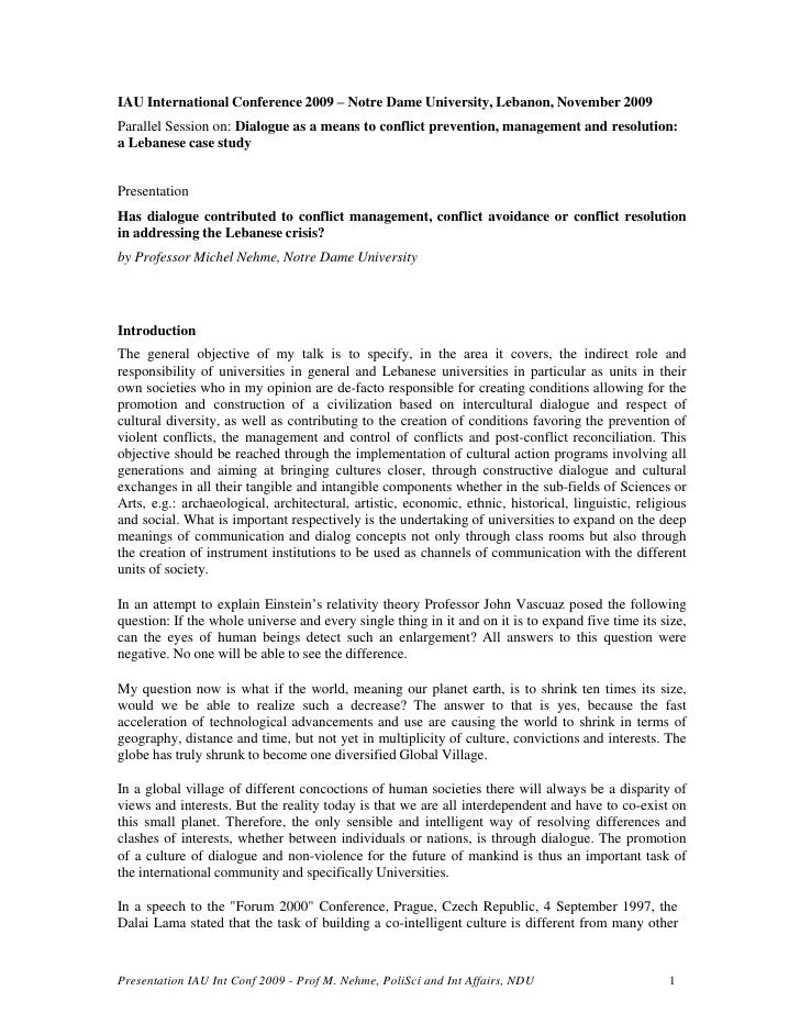 IAU International Conference 2009 – Notre Dame University, Lebanon, November 2009<br />Parallel Session on: Dialogue as a ...