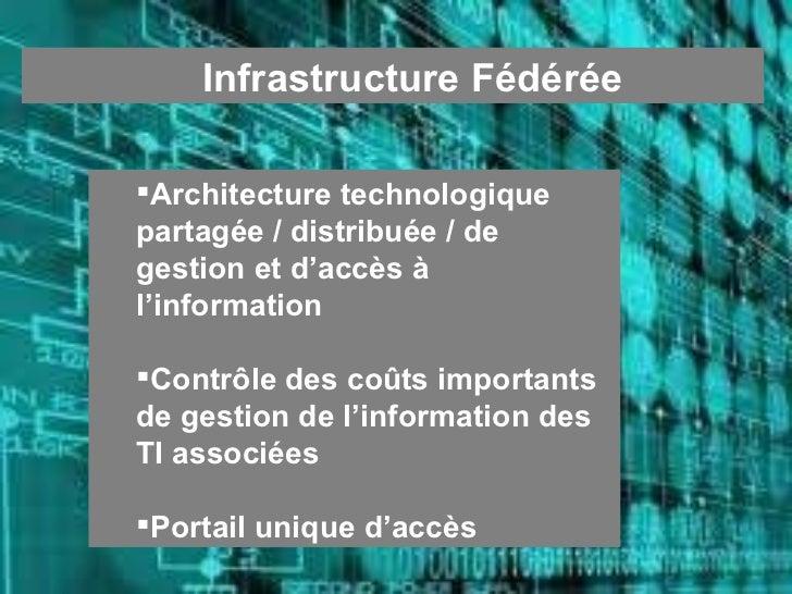 <ul><ul><li>Infrastructure Fédérée </li></ul></ul><ul><ul><li>Architecture technologique partagée / distribuée / de gestio...