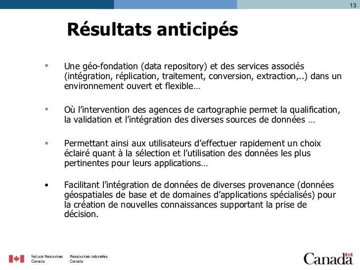 Résultats anticipés <ul><li>Une géo-fondation (data repository) et des services associés (intégration, réplication, traite...