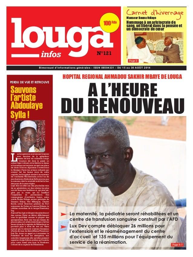 100 Fcfa  N°121  Carnet d'hivernage  Mansour Bouna Ndiaye  Hommage à un aristocrate de  sang, un libéral dans la pensée et...
