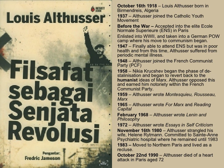 althusser louis 1970 essays on ideology On althusser's not un-usefulness (notes toward an investigation of louis althusser's not evident in the 1970 essay — and what i would.