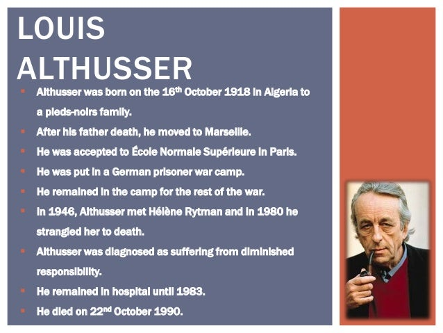 james scullys and louis althussers definition of ideology Althusser, ideology and interpellation louis althusser in his definition, althusser sees ideology functioning as a mediator between systems of power and.