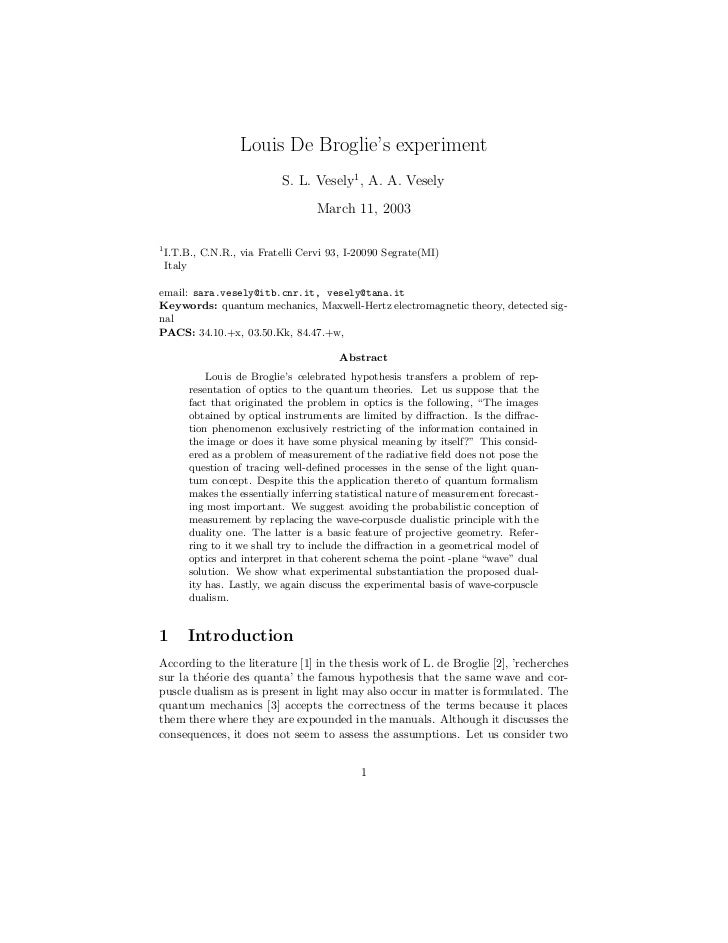 louis de broglie thesis