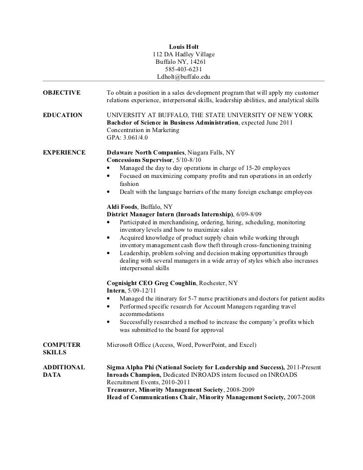 Louis Holt Bs Resume 2011