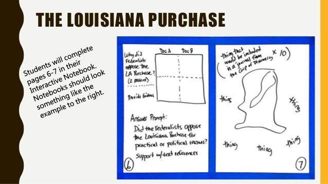Louisiana purchase map activity journal notes and reading like an hi