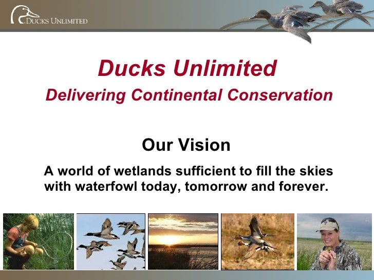 Ducks Unlimited Delivering Continental Conservation Our Vision A world of wetlands sufficient to fill the skies with water...