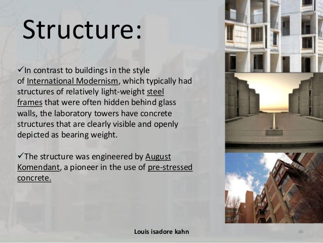 an analysis of the louis isadore kahn and the salk institute Dr salk and architect louis i kahn set forth the internationally-renowned  a  summary of the prior city approvals affecting the salk institute.