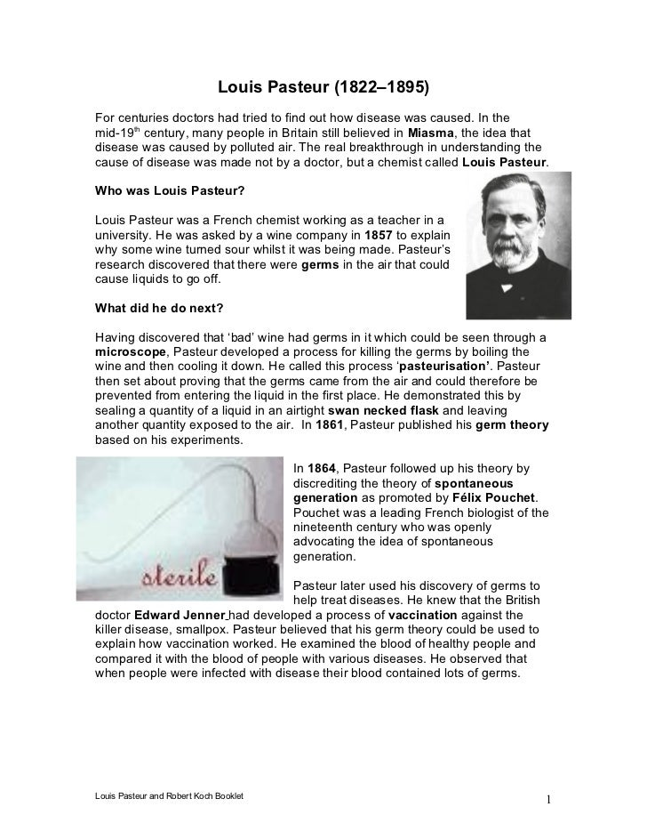 Louis Pasteur (1822–1895) For centuries doctors had tried to find out how disease was caused. In the mid-19th century, man...