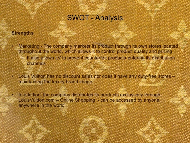 swot analysis of louis vuitton japan Focus upon the idea of conducting a swot analysis with respect to louis vuitton's external and global environment, which includes the remote, industry, and operating environments please include the swot analysis with the four quadrants in the appendix of your paper (after the references page.