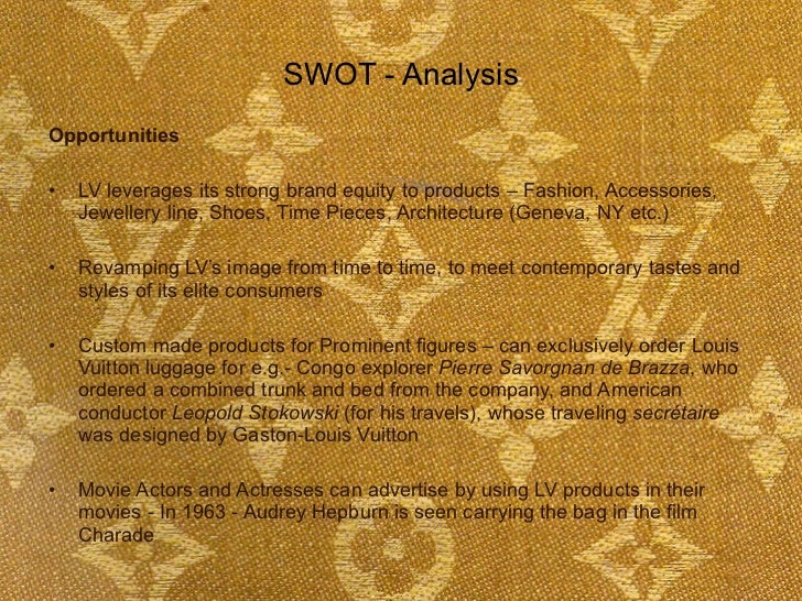 louis vuitton swot analysis japan Unit 4: the external and global environments case study analysis paper: prepare a case study analysis on case 14, louis vuitton in japan, found in the cases section of your pearce and.