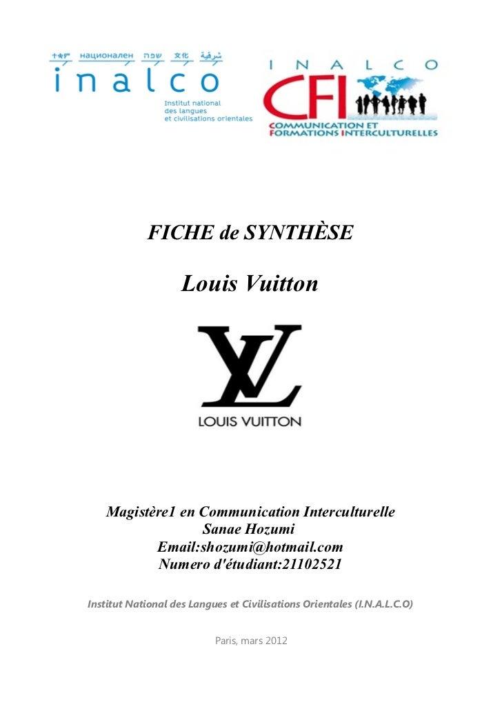 FICHE de SYNTHÈSE                    Louis Vuitton   Magistère1 en Communication Interculturelle                 Sanae Hoz...