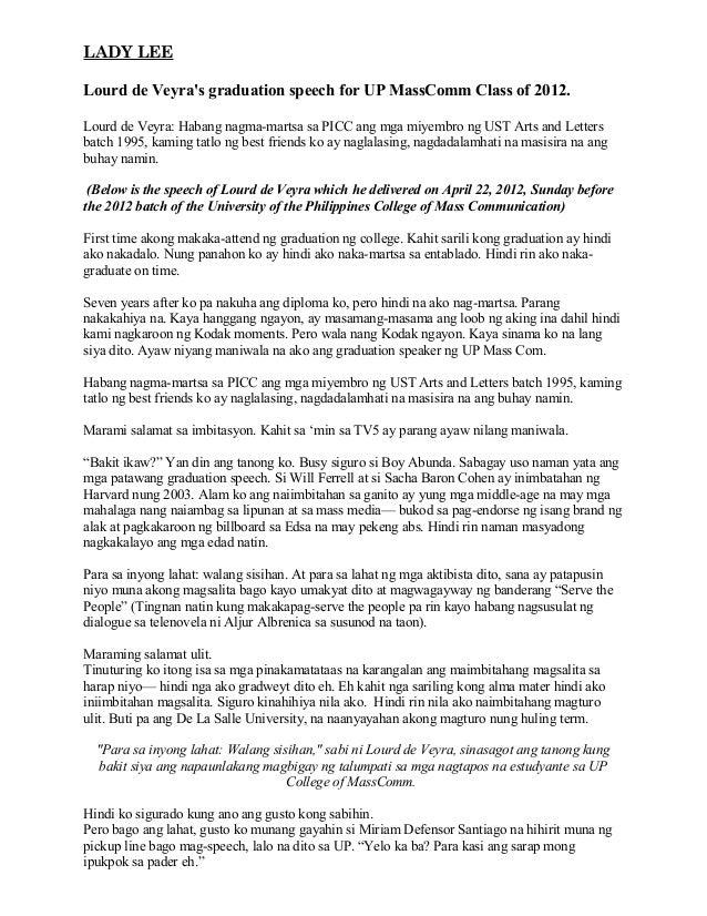 LADY LEELourd de Veyras graduation speech for UP MassComm Class of 2012.Lourd de Veyra: Habang nagma-martsa sa PICC ang mg...
