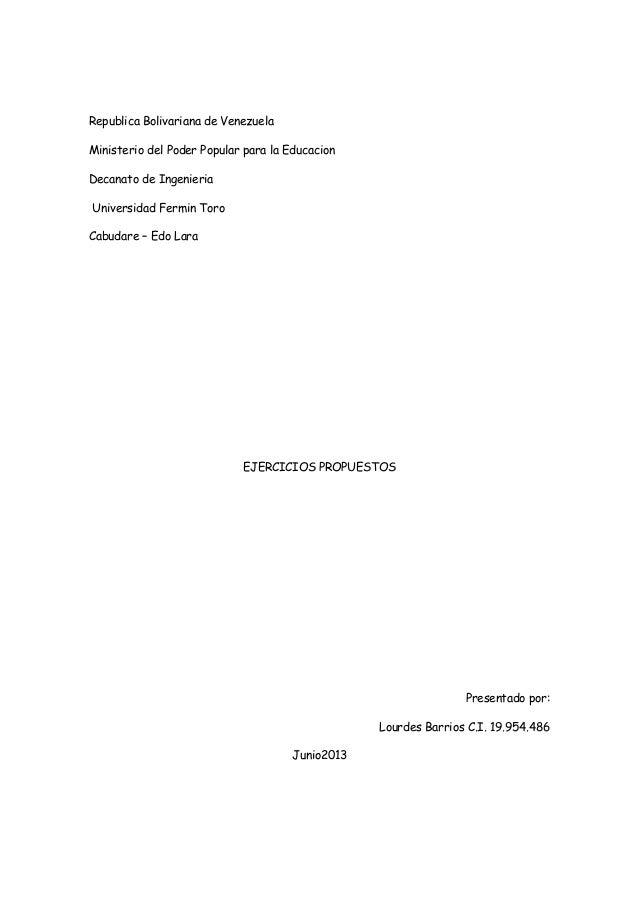 Republica Bolivariana de Venezuela Ministerio del Poder Popular para la Educacion Decanato de Ingenieria Universidad Fermi...