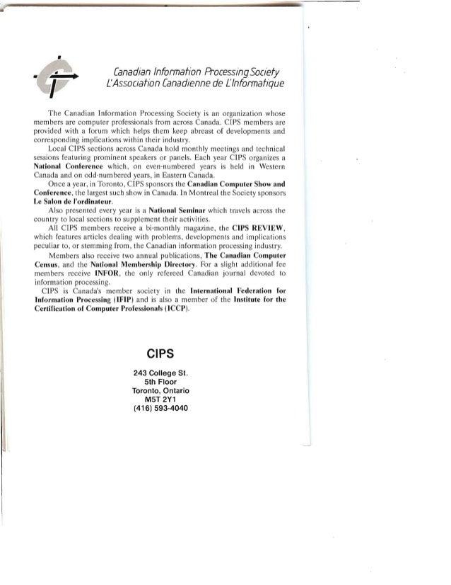 •   Canadian Information ProcessingSociety   L'Association Canadienne de L'lnformat/que   The Canadian Information Process...